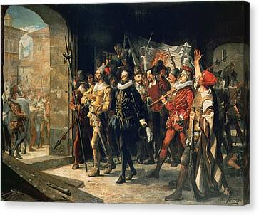 Antonio Perez 1540-1611 Released From Prison By The Rebels In 1591 Oil On Canvas Canvas Print by Augustus or Augusto Ferran