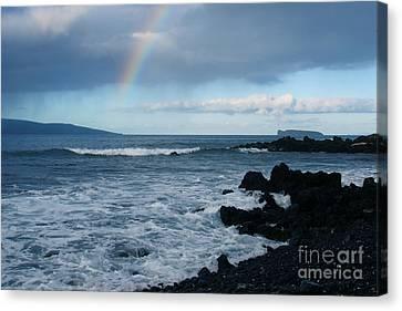 Anuenue - Rainbow Over  Alalakeiki Channel Kihei Maui Hawaii Canvas Print by Sharon Mau