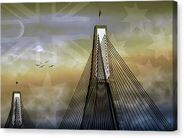 Canvas Print featuring the photograph Anzac Bridge by Holly Kempe