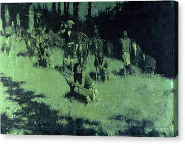 Apache Scouts Listening, 1908 Canvas Print by Frederic Remington