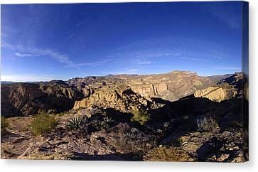 Apache Trail Overlook Panorama January 9 2013 Canvas Print by Brian Lockett