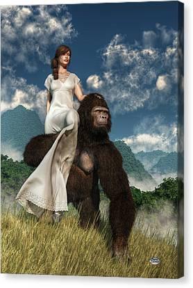 Ape And Girl Canvas Print by Daniel Eskridge