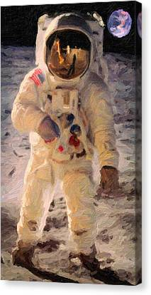 Apollo 11 Astronaut Painting Canvas Print by Celestial Images