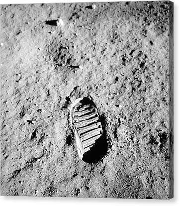 Apollo 11 Bootprint On Moon Canvas Print by Nasa