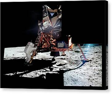 Apollo 11 Moon Landing Canvas Print by Nasa/detlev Van Ravenswaay