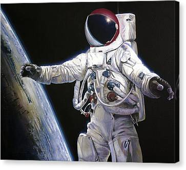 Apollo 9 - Schweickart On The Porch Canvas Print by Simon Kregar