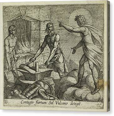 Apollo At Vulcan's Forge Canvas Print by British Library