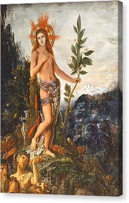 Apollo Receiving The Shepherds Offerings Canvas Print by Gustave Moreau