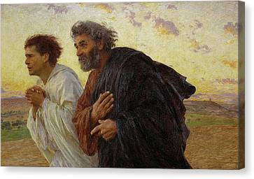 Apostles Peter And John Hurry To The Tomb On The Morning Of The Resurrection Canvas Print by Celestial Images
