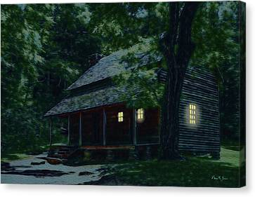 Rustic Home - Smoky Mountain Cabin Lights Canvas Print by Barry Jones