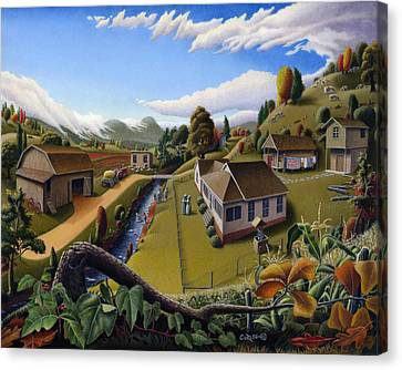 Appalachia Summer Farming Landscape - Appalachian Country Farm Life Scene - Rural Americana Canvas Print by Walt Curlee