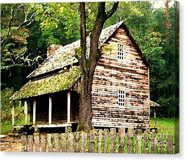 Canvas Print featuring the painting Appalachian Cabin by Desiree Paquette