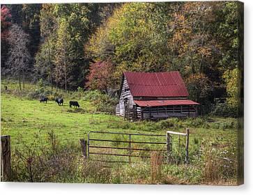 Appalachian Farm Barn Canvas Print by Debra and Dave Vanderlaan