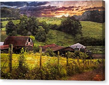 Appalachian Mountain Farm Canvas Print by Debra and Dave Vanderlaan
