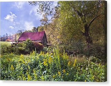 Appalachian Red Roof Barn Canvas Print by Debra and Dave Vanderlaan