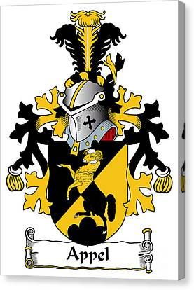 Family Crest Canvas Print - Appel Coat Of Arms Dutch by Heraldry