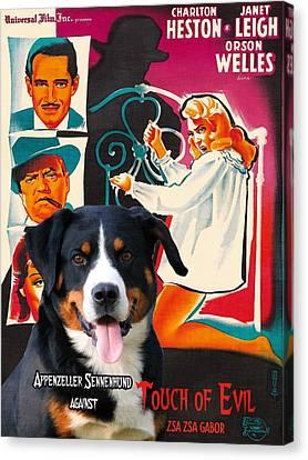 Appenzeller Sennenhund - Appenzell Cattle Dog  Art Canvas Print - Touch Of Evil Movie Poster Canvas Print by Sandra Sij