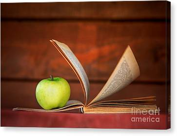Apple And Book Canvas Print by Michal Bednarek