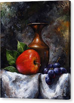 Grapes Canvas Print - Apple And Grapes by Emerico Imre Toth