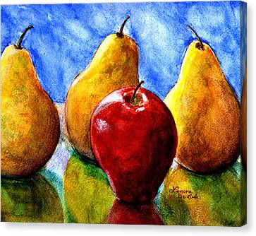 Canvas Print featuring the painting Apple And Three Pears Still Life by Lenora  De Lude