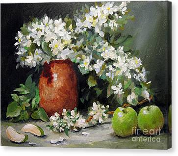 Canvas Print featuring the painting Apple Blossoms by Carol Hart