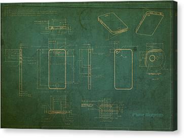Apple Iphone Vintage Retro Blueprints Plans On Worn Distressed Canvas Canvas Print