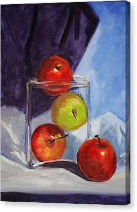 Apple Jar Still Life Painting Canvas Print by Nancy Merkle