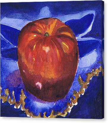 Apple On Blue Tile Canvas Print by Susan Herbst