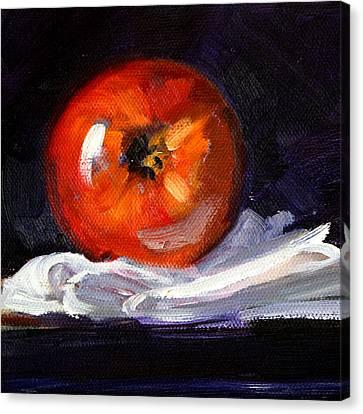 Apple On Linen Canvas Print by Nancy Merkle