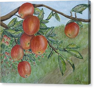 Canvas Print featuring the painting Apple Orchard by Kelly Mills
