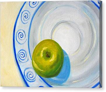 Apple Plate Canvas Print by Nancy Merkle