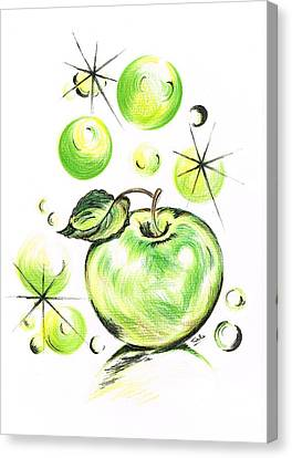 Apple With Soapy Bubbles Canvas Print by Teresa White