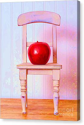 Apple Still Life With Doll Chair Canvas Print by Edward Fielding