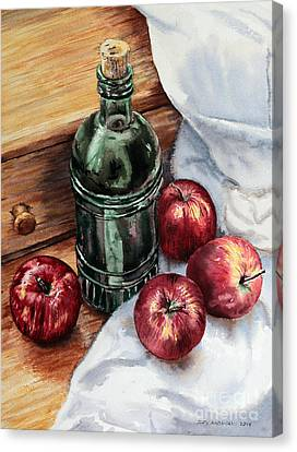 Canvas Print featuring the painting Apples And A Bottle Of Liqueur by Joey Agbayani