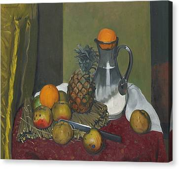 Apples And A Pineapple Canvas Print by Felix Edouard Vallotton