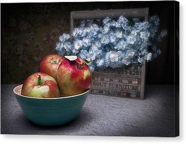 Wooden Bowls Canvas Print - Apples And Flower Basket Still Life by Tom Mc Nemar