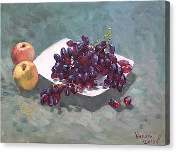 Apples And Grapes Canvas Print by Ylli Haruni