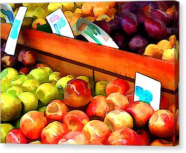 Apples And Pears And Plums Oh My Canvas Print by Elaine Plesser