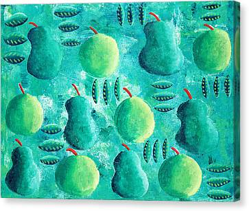 Apples And Pears Canvas Print by Julie Nicholls