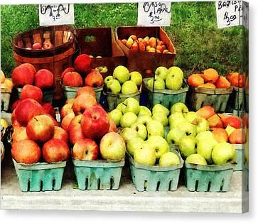 Apples At Farmer's Market Canvas Print by Susan Savad