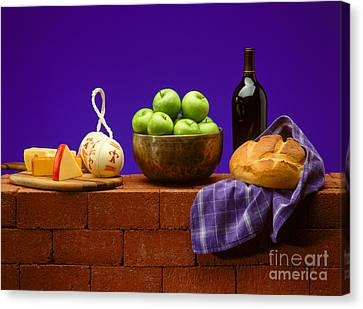 Apples Bread And Cheese Canvas Print by Craig Lovell