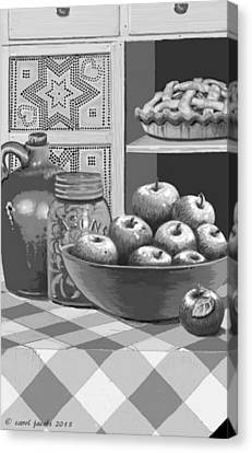 Canvas Print featuring the digital art Apples Four Ways by Carol Jacobs