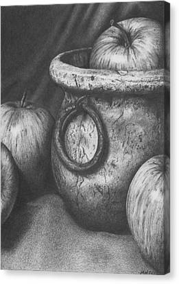 Apples In Stoneware Canvas Print by Michelle Harrington