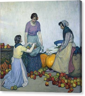 Apples Canvas Print by Myron G Barlow