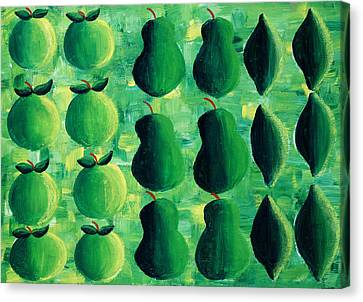 Apples Pears And Limes Canvas Print by Julie Nicholls