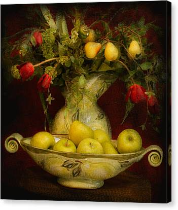 Apples Pears And Tulips Canvas Print by Jeff Burgess