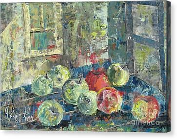Apples - Sold Canvas Print by Judith Espinoza