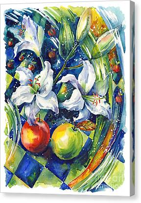 Apples With Lilies Canvas Print by Ira Ivanova