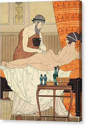 Application Of White Egyptian Perfume To The Hip Canvas Print by Joseph Kuhn-Regnier