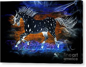 Appoloosa Night Runner Canvas Print by Debbie Portwood